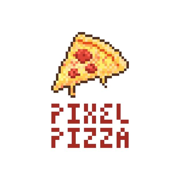 Ilustracja wektorowa logo pizzy pikseli Premium Wektorów