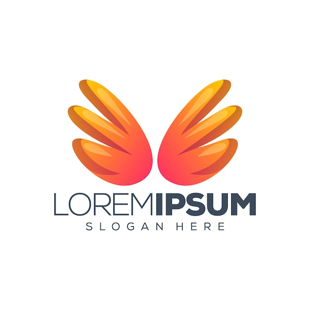 Ilustracja Wektorowa Logo Projekt Skrzydła Premium Wektorów
