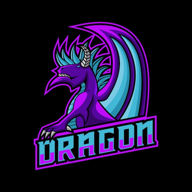 Ilustracja wektorowa logo smoka do grania Premium Wektorów