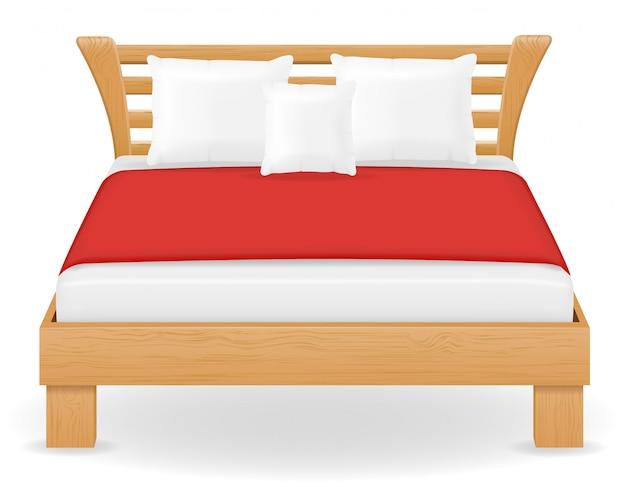 Ilustracja wektorowa meble podwójne łóżko Premium Wektorów