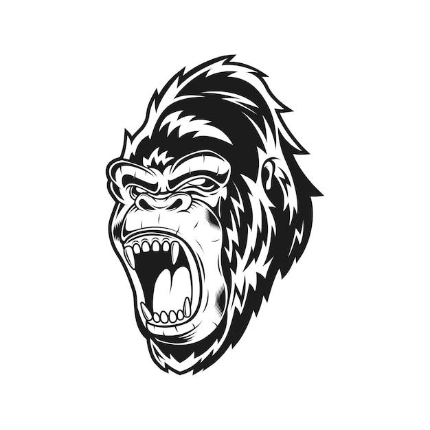 Ilustracja Wektorowa Monochromatyczne Krzyczeć Goryl Premium Wektorów