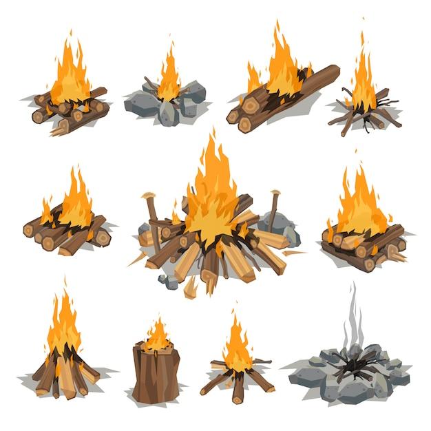 Ilustracja wektorowa na białym tle ogniska. Premium Wektorów