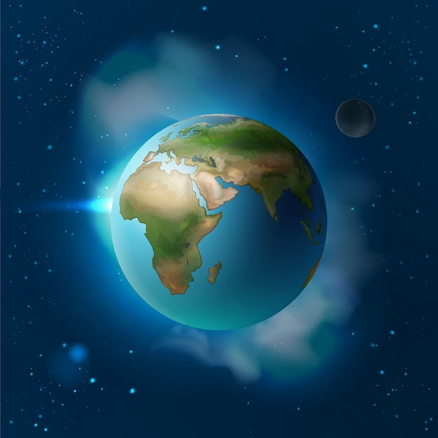 Ilustracja Wektorowa Na Białym Tle Planeta Ziemia W Przestrzeni Z Księżycem I Gwiazdami Darmowych Wektorów