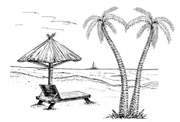 Ilustracja wektorowa nadmorskiej promenady z palmami, leżakiem, parasolem i jachtami Premium Wektorów