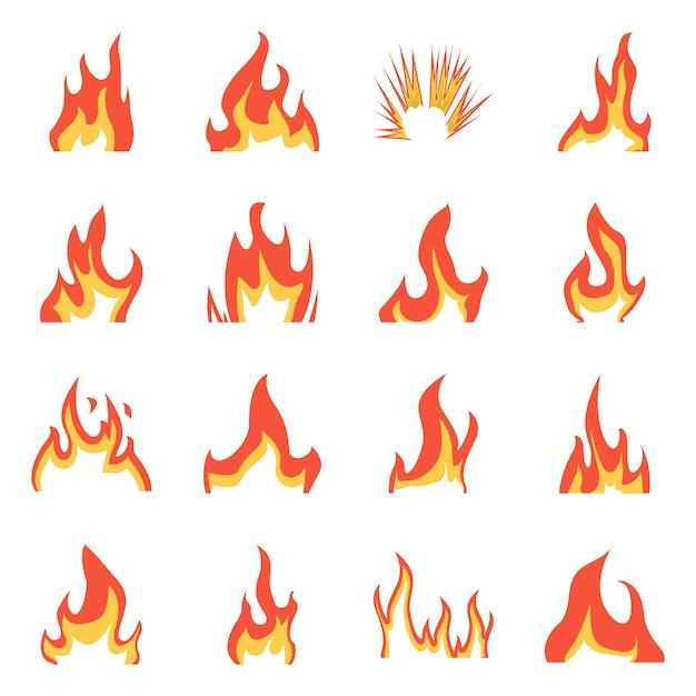 Ilustracja wektorowa ognia i czerwony znak. zestaw ognia i ogniska Premium Wektorów