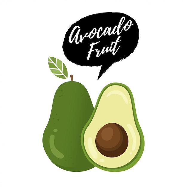 Ilustracja wektorowa owoców awokado Premium Wektorów