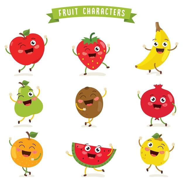 Ilustracja Wektorowa Owoców Znaków Premium Wektorów