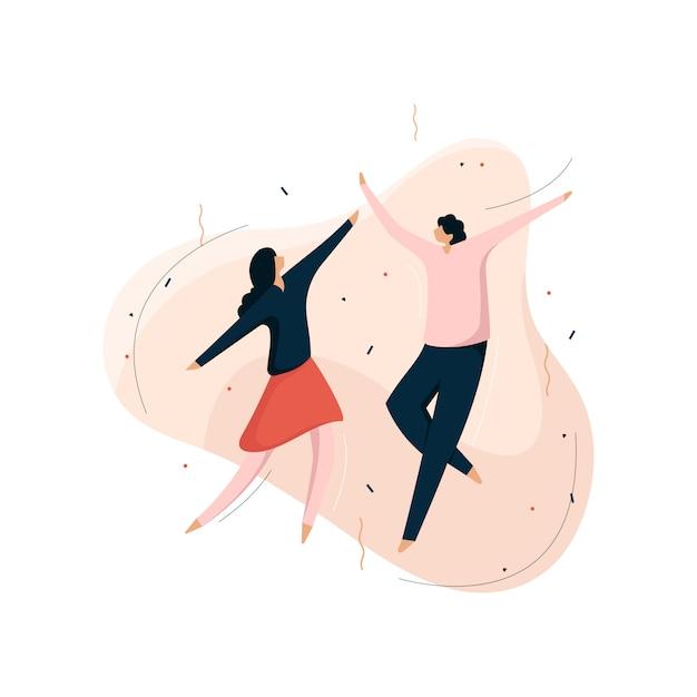 Ilustracja Wektorowa Partii, Ludzie Tańczą I świętują Premium Wektorów