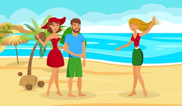 Ilustracja Wektorowa Płaski Egzotyczne Wakacje Premium Wektorów