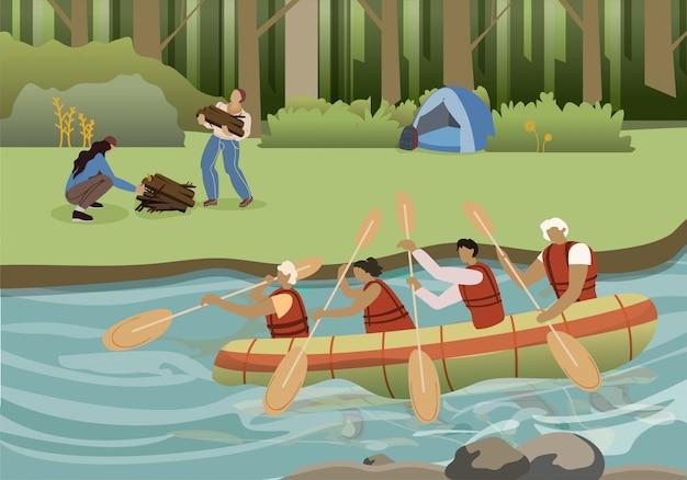Ilustracja wektorowa płaski lato aktywnej turystyki Premium Wektorów