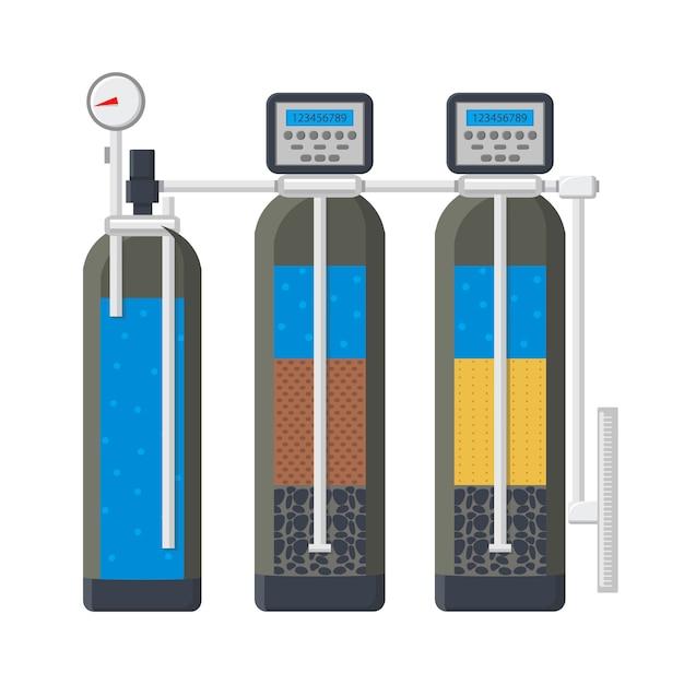 Ilustracja wektorowa płaski system filtracji wody Premium Wektorów
