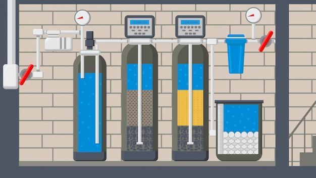 Ilustracja wektorowa płaski system oczyszczania wody Premium Wektorów