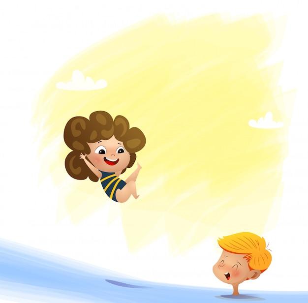 Ilustracja Wektorowa Pływania Dla Dzieci Premium Wektorów