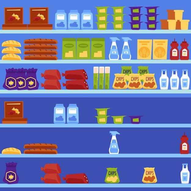Ilustracja Wektorowa Półek W Supermarkecie Premium Wektorów