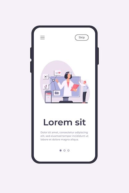 Ilustracja Wektorowa Pomocy Medycznej Online. Człowiek Za Pomocą Aplikacji Na Smartfony Do Konsultacji Z Lekarzem. Mężczyzna Pacjent Rozmawia Z Lekarzem W Internecie Darmowych Wektorów