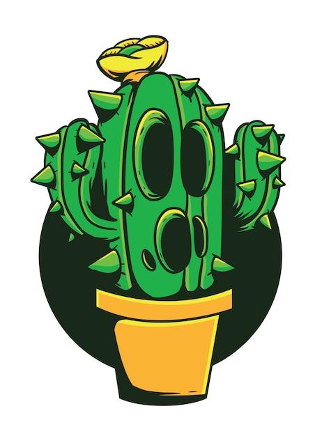 Ilustracja Wektorowa Potwór Kaktus Premium Wektorów