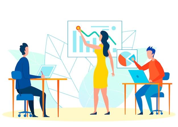 Ilustracja wektorowa pracy zespołowej analityków finansowych Premium Wektorów