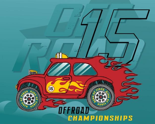 Ilustracja wektorowa samochód wyścigowy płomień Premium Wektorów