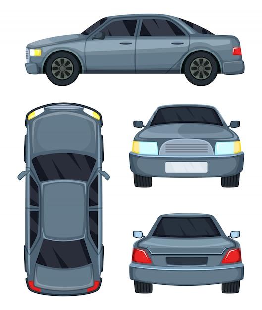 Ilustracja wektorowa samochodu. widok z góry, z przodu iz tyłu. samochodowy samochód odizolowywający na bielu Premium Wektorów