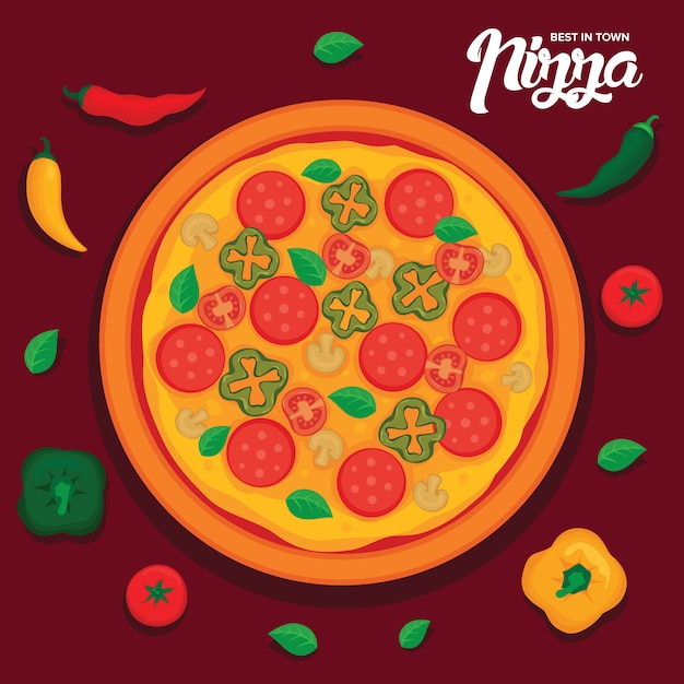 Ilustracja wektorowa smaczne pizze Premium Wektorów