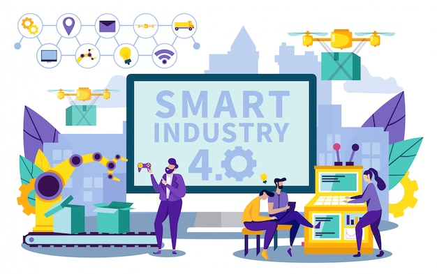 Ilustracja Wektorowa Smart Lettering Industry 4.0. Premium Wektorów