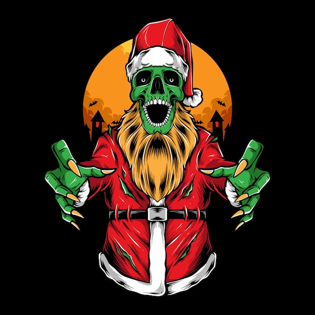 Ilustracja Wektorowa Straszny Zombie Santa Darmowych Wektorów