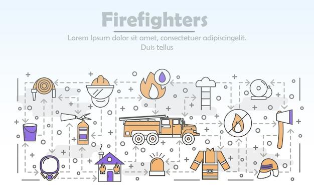 Ilustracja Wektorowa Strażacy Cienkie Sztuki Linii Premium Wektorów