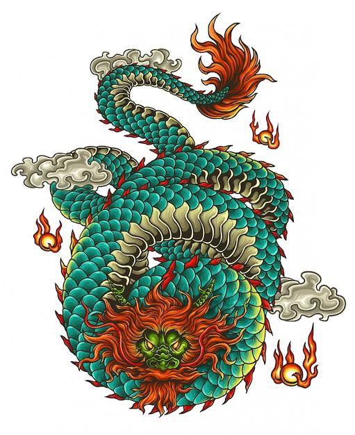 Ilustracja Wektorowa Tatuaż Smoka Azji Premium Wektorów