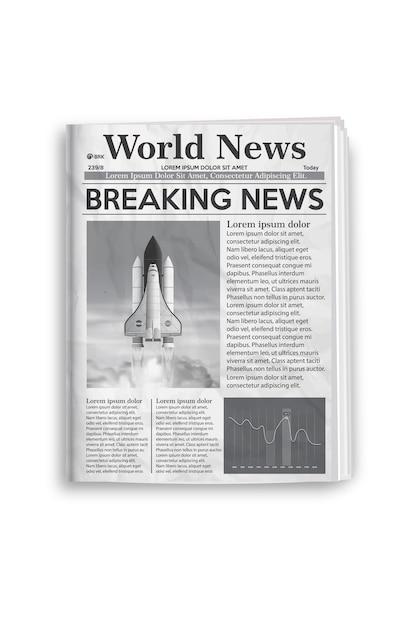 Ilustracja Wektorowa Układu Gazety Czarno-biały. Premium Wektorów