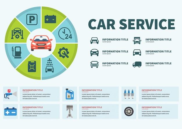 Ilustracja wektorowa usługi samochodu infografiki. Premium Wektorów