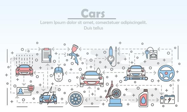Ilustracja Wektorowa Usługi Sztuki Cienka Linia Samochód Premium Wektorów