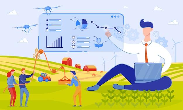 Ilustracja wektorowa użyj drony na farmie cartoon. Premium Wektorów