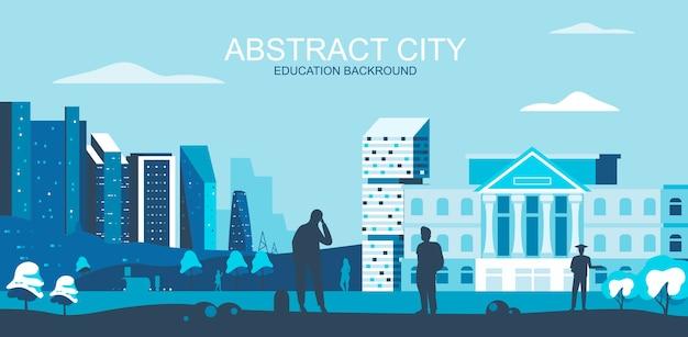 Ilustracja wektorowa w prostym stylu płaski - uniwersytet, kampus ze studentami Premium Wektorów