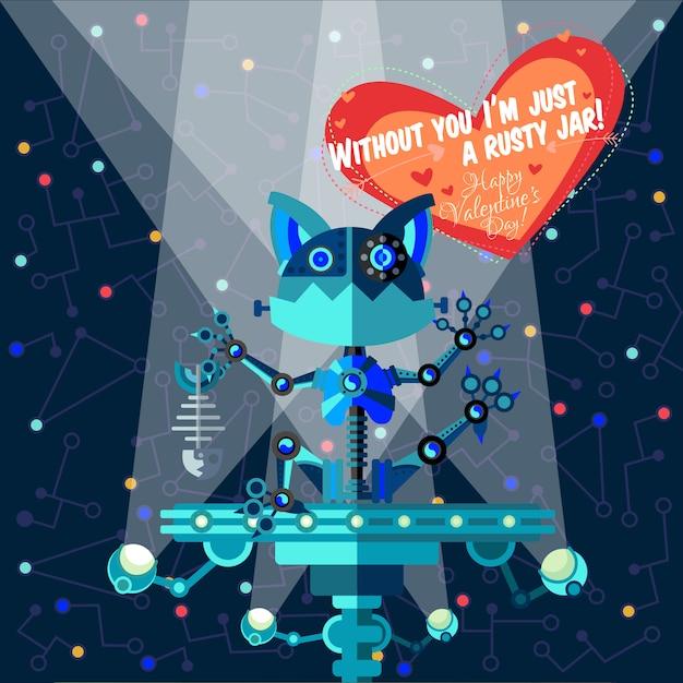 Ilustracja wektorowa w stylu płaski o robocie. kartka z życzeniami Premium Wektorów