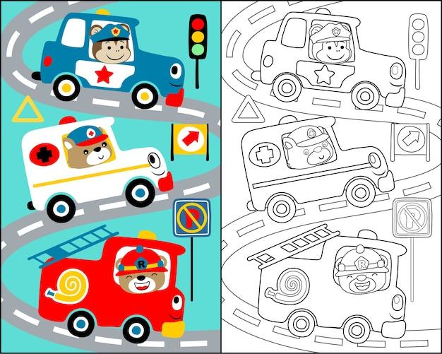 Ilustracja wektorowa z kreskówki drużyny ratowniczej Premium Wektorów