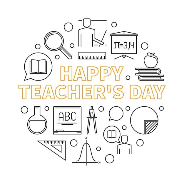 Ilustracja wektorowa zarys szczęśliwy dzień nauczyciela Premium Wektorów