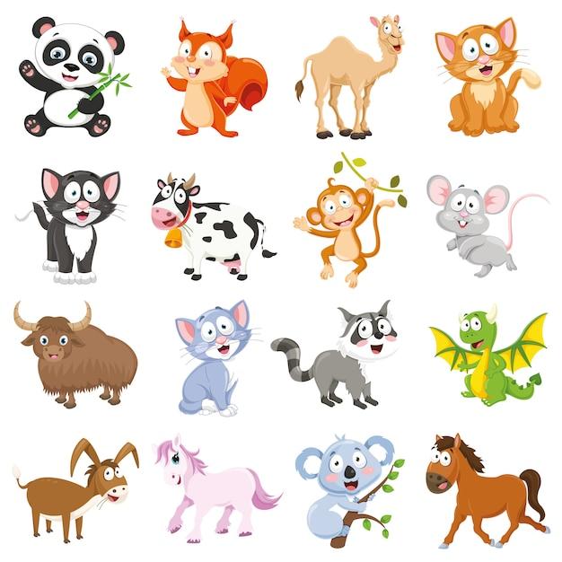 Ilustracja wektorowa zbioru zwierząt kreskówek Premium Wektorów