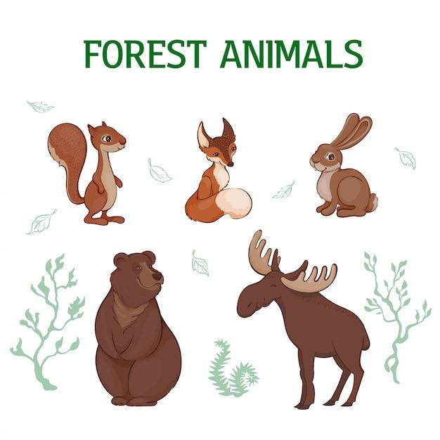 Ilustracja Wektorowa, Zestaw Kreskówka Słodkie Zwierzęta Leśne. Wiewiórka, Lis, Zając, Niedźwiedź, łoś. Premium Wektorów