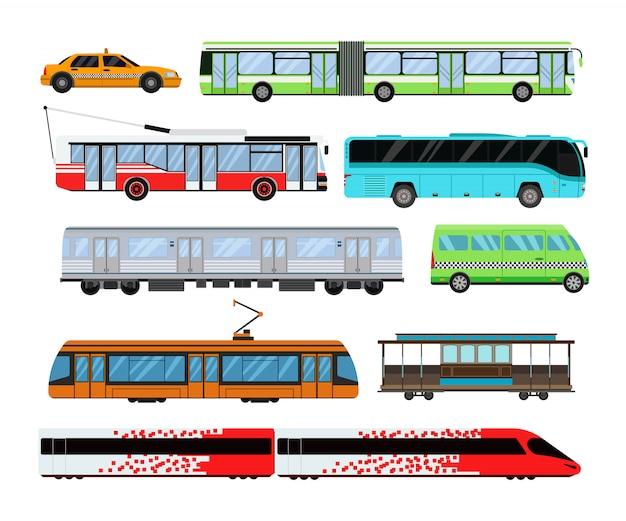 Ilustracja wektorowa zestaw transportu miejskiego. Premium Wektorów