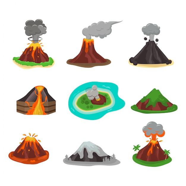 Ilustracja wektorowa zestaw wulkanu. Premium Wektorów