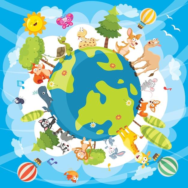 Ilustracja Wektorowa Zwierząt świata Premium Wektorów