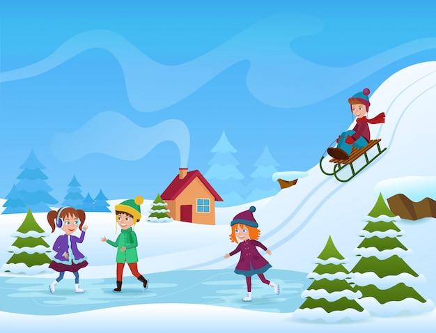 Ilustracja wesoły dzieci na łyżwach i sankach w zimie Premium Wektorów