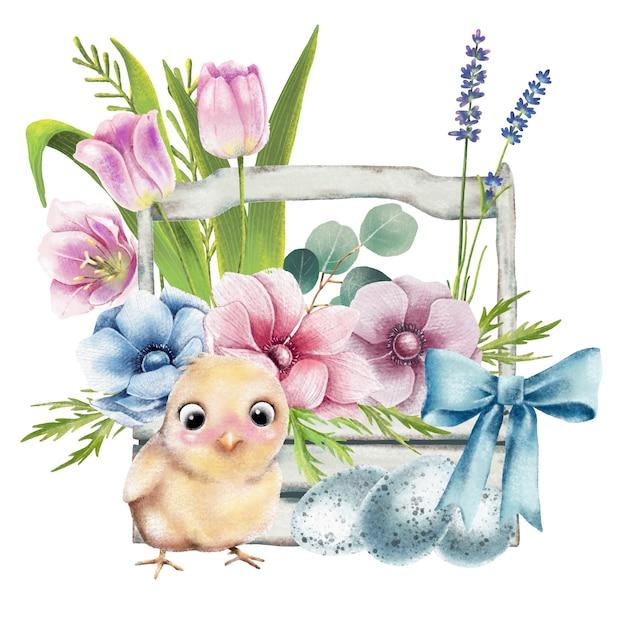 Ilustracja wielkanocny kosz z kurczakiem i kwiatami Premium Wektorów
