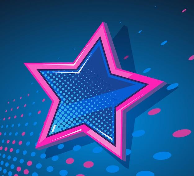 Ilustracja Wielkiej Gwiazdy Ze świecącymi Plamami Na Ciemnoniebieskim Tle. Premium Wektorów