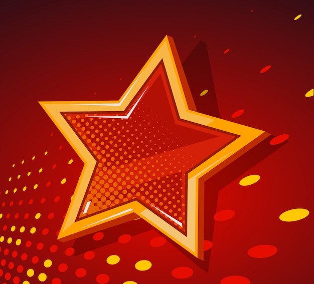 Ilustracja Wielkiej Złotej Gwiazdy Ze świecącymi Plamami Na Ciemnym Czerwonym Tle. Premium Wektorów