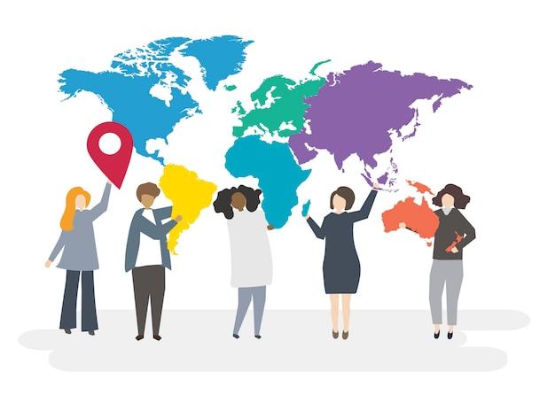 Ilustracja Wielorasowe Postacie Z Globalną Koncepcją Darmowych Wektorów