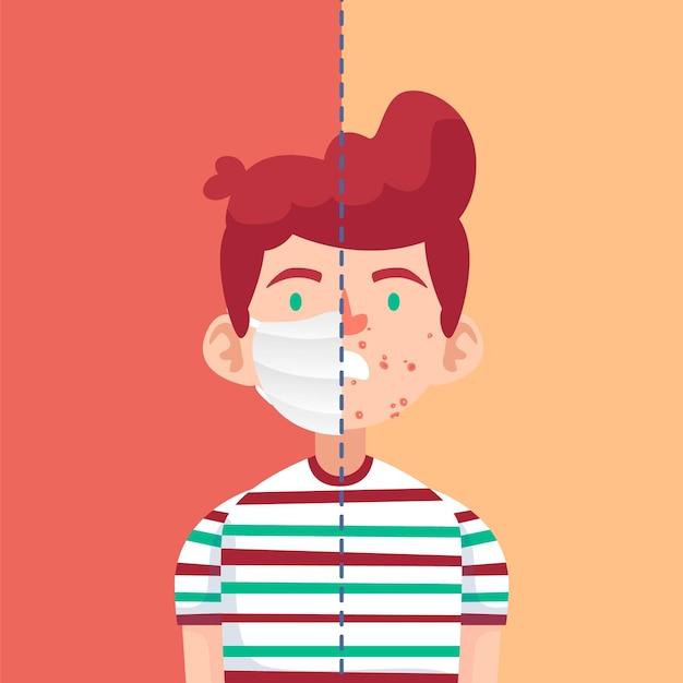 Ilustracja Włączania I Wyłączania Maski Na Twarz Darmowych Wektorów