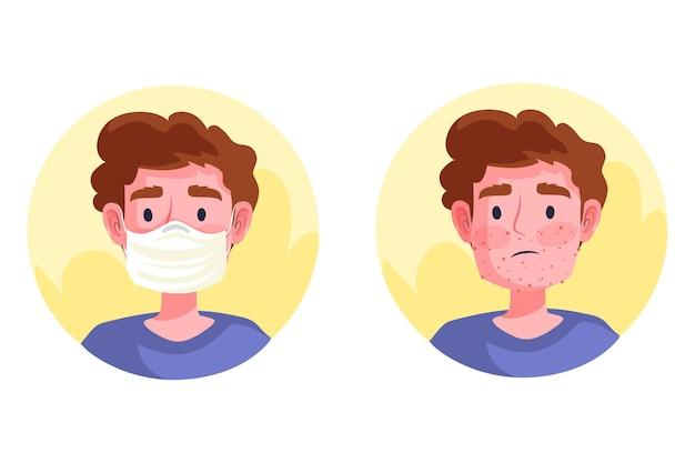 Ilustracja Włączania / Wyłączania Maski Na Twarz Premium Wektorów