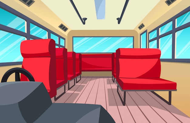 Ilustracja wnętrza autobusu, stylu cartoon Premium Wektorów
