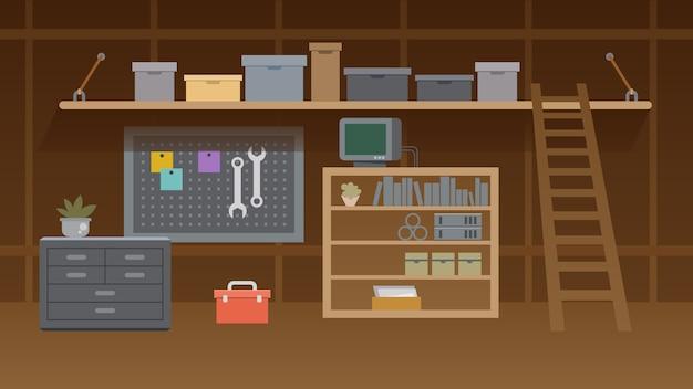 Ilustracja Wnętrza Warsztatu Piwnicy Premium Wektorów